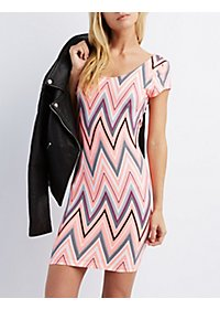 Chevron Print Bodycon Mini Dress