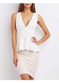 Scuba V-Neck Peplum Top