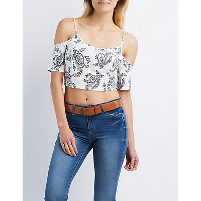 Printed Cold Shoulder Crop Top