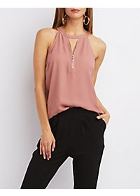 Metal Zipper Tank Top