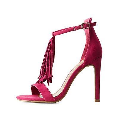 Fringed T-Strap Dress Sandals