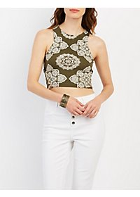 Paisley Print Caged Cropped Tank