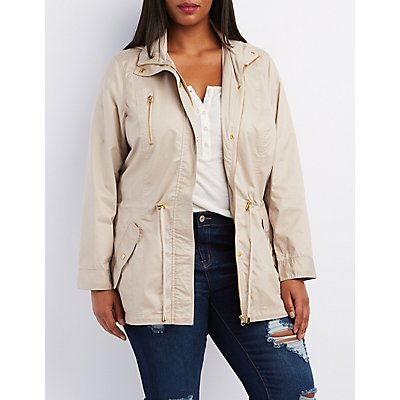 Plus Size Hooded Drawstring Anorak Coat
