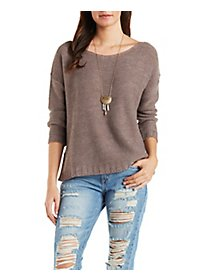 Split Hem Boxy Sweater