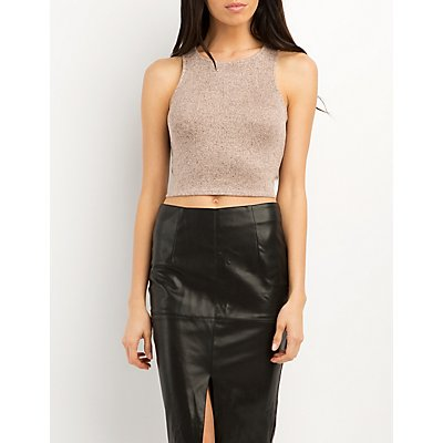 Marled Racer Front Cropped Tank