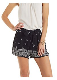 Tie-Front Printed Shorts