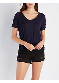 Ribbed V-Neck Boyfriend Tee