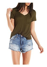 V-Neck Boyfriend Pocket Tee