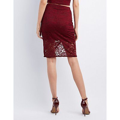 Floral Lace Tulip Skirt