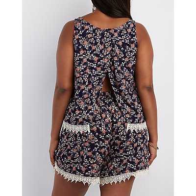 Plus Size Crochet-Trim Split Back Tank Top