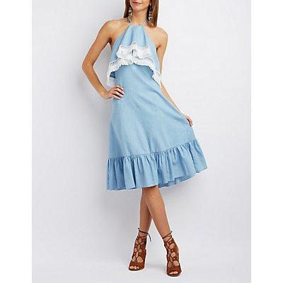 Re:Named Fringed Chambray Halter Dress