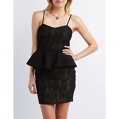 Mesh Lace Peplum Dress