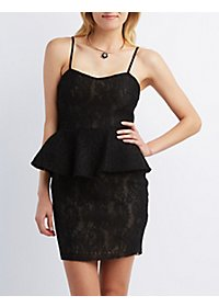 Mesh Lace Peplum Dress