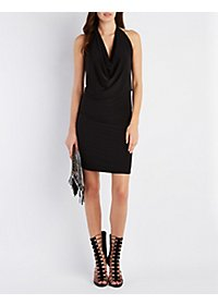 Draped Halter Bodycon Dress