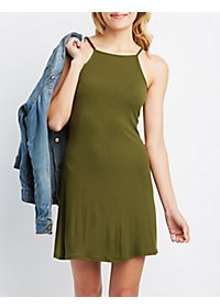 Backless Bib Neck Shift Dress