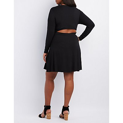 Plus Size Open-Back Trapeze Shift Dress