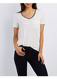 V-Neck Pocket Ringer Tee