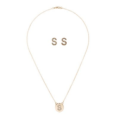 "Initial ""S"" Necklace & Earrings Set"