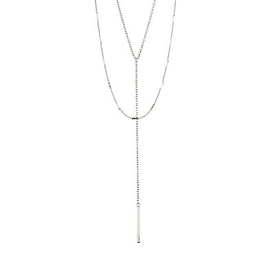 Rhinestone Bars Layered Y-Chain Necklace