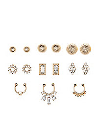 Stud Earrings & Faux Septum Rings - 9 Pack