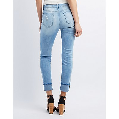 Destroyed Ankle Skinny Jeans