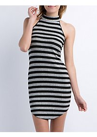 Striped & Ribbed Sleeveless Dress