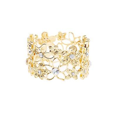 Floral & Rhinestone Bracelet