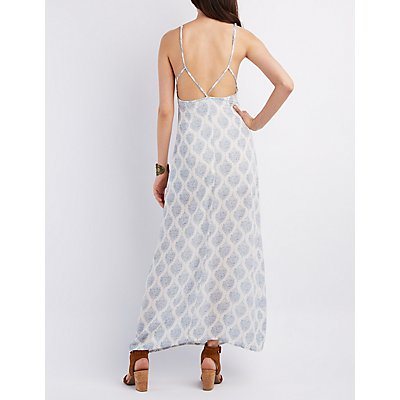 Printed Bib Neck Maxi Dress