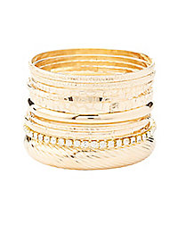 Rhinestone & Textured Bangle Bracelets - 10 Pack