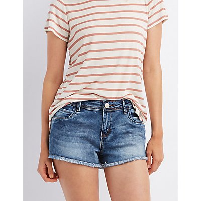 "Refuge ""Mid-Rise Shortie"" Denim Shorts"
