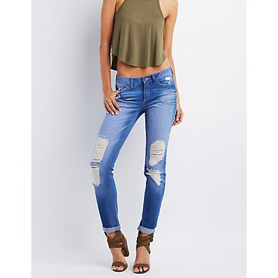 Destroyed Denim Boyfriend Jeans