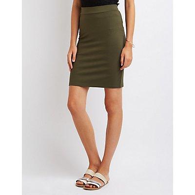 Ponte Knit Pencil Skirt