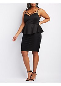 Plus Size Shadow Stripe Peplum Dress