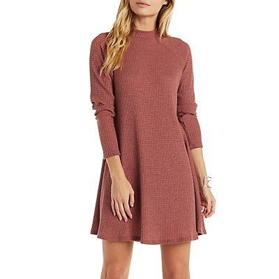 Waffle Knit Mock Neck Shift Dress