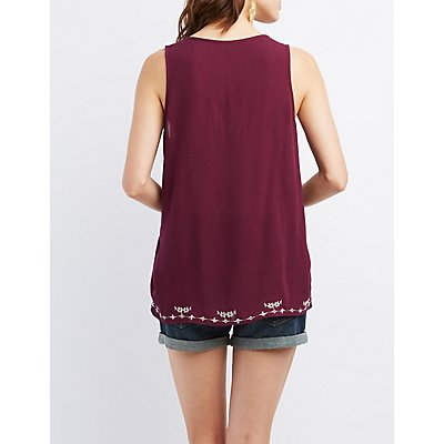 Embroidered Gauzy Tank Top