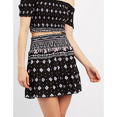 Printed Ruffle Hem Mini Skirt