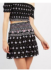 Printed Ruffle Hem Mini Skirt