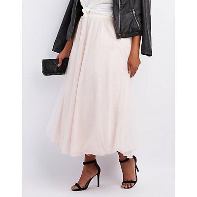 Plus Size Tulle Full Maxi Skirt