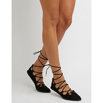 Qupid Crisscross Lace-Up Flats