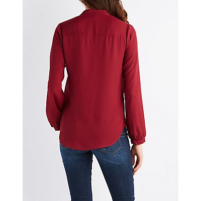 Mandarin Collar Pullover Top