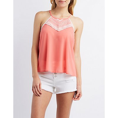 Embroidered Tie-Back Tank Top