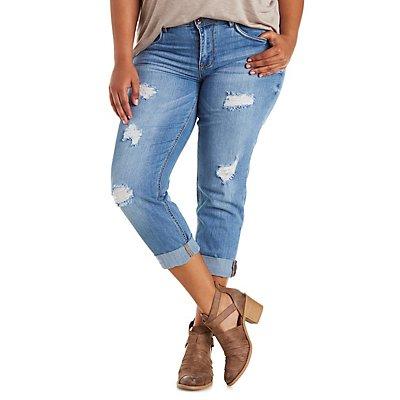 Plus Size Dollhouse Cropped Boyfriend Jeans