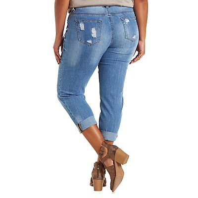 Plus Size Dollhouse Cropped Boyfriend Jeans