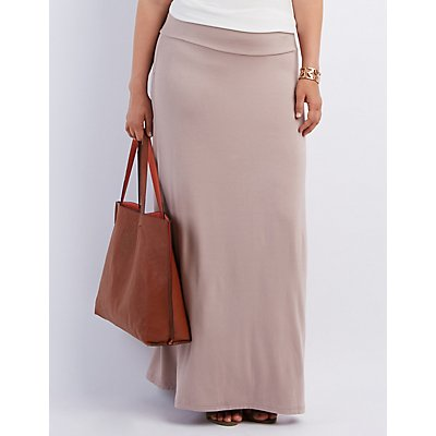 Plus Size Double Side Slit Maxi Skirt