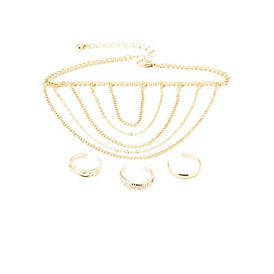 Chainlink Anklet & Toe Rings - 4 Pack