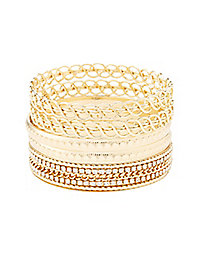 Rhinestone Twisted Bangle Bracelets - 5 Pack