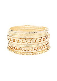 Etched & Chainlink Bangle Bracelets - 10 Pack