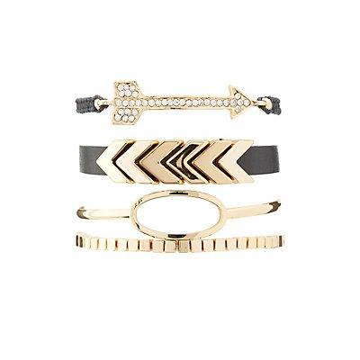 Rhinestone Beaded Mixed Bracelets - 4 Pack