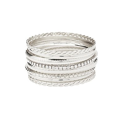 Etched Metal Bangle Bracelets - 8 Pack