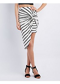 Striped Knot Front Skirt